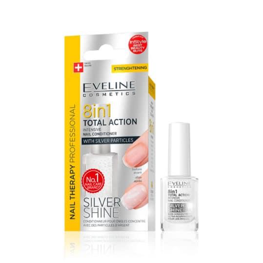 Θεραπεία Νυχιών Eveline Nail Therapy 8 in 1 Silver Shine